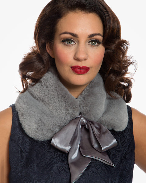 'Cally' Smoke Grey Faux Fur Collar