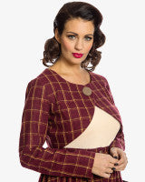 'Eryn' Classic Mid-Century Red Checked Cropped Jacket Or Bolero Top Size 14