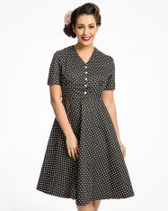 'Ionia' Black Polka Dot Tea Dress  size 26