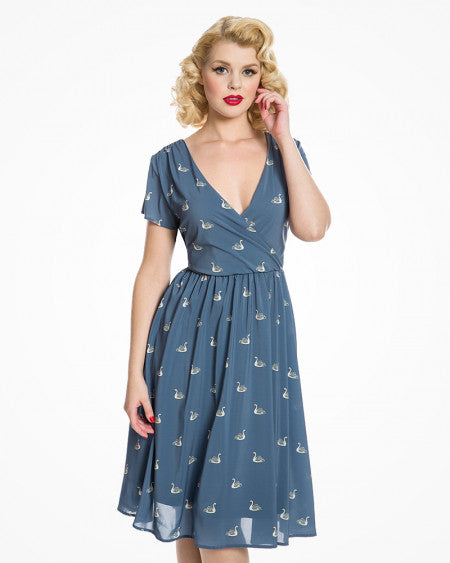 'Kasha' Pale Blue Swan Print Tea Dress