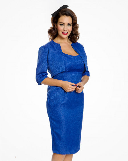 Marguerite' Jackie O Inspired Royal Blue Pencil Dress & Jacket Set Size 12