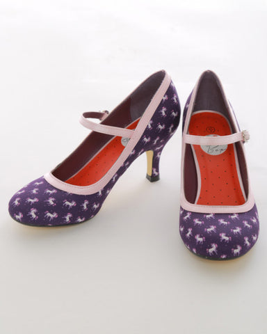 "Purple Unicorn Print 3"" Heel 50's Style Mary Jane Shoes"