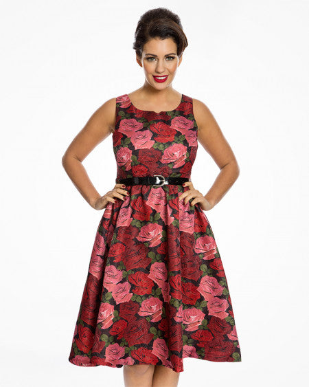 'Nova' Red Raindrop Roses Swing Dress