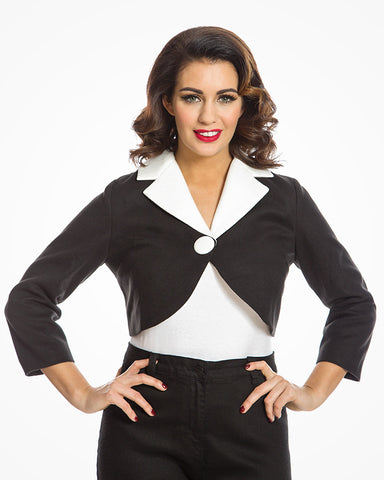 'Tristina' Chic Vintage Inspired Black and White Cropped Jacket Size 14