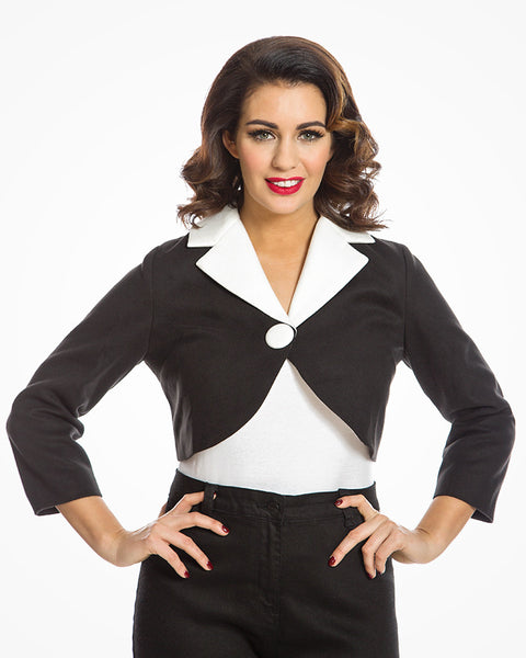 'Tristina' Chic Vintage Inspired Black and White Cropped Jacket Size10
