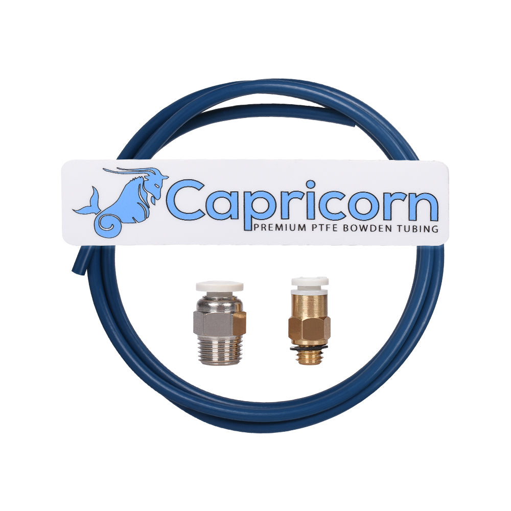 Capricorn Bowden PTFE Tubing XS Series 1M+1Pcs Quick Fitting + 1Pcs Straight Pneumatic Fitting Push to Connect for 3D Printer