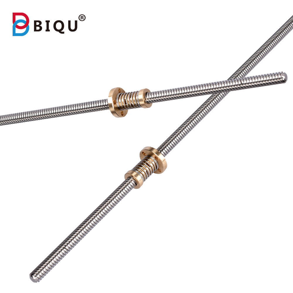 T8 Lead Screw 300/330/350/380/400/500mm Trapezoidal Anti-Backlash Nut Thread 8mm For 3D Printer
