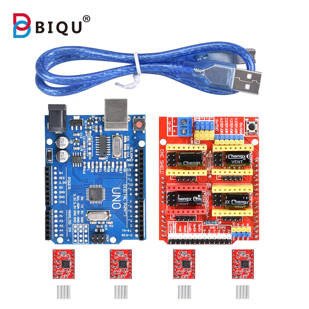 CNC Shield Expansion Board V3.0 + UNO R3 Board + Stepper Motor Driver A4988/DRV8825 Kits for Arduino Engraving Machine