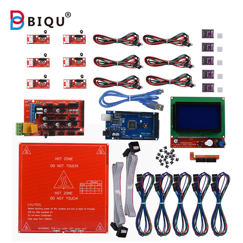 BIGTREETECH Ramps 1.4 + Mega 2560 + 12864 LCD + 5PCS DRV8825 Drivers + MK2B Heatbed + 6PCS Mechanical Endstop + Cables for 3D Printer