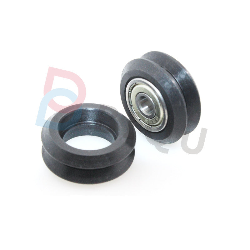 Befenybay Small V-Wheel with Plate for 2020 Aluminum Profile for CNC and 3D Printer Parts Kossel Black Wheel