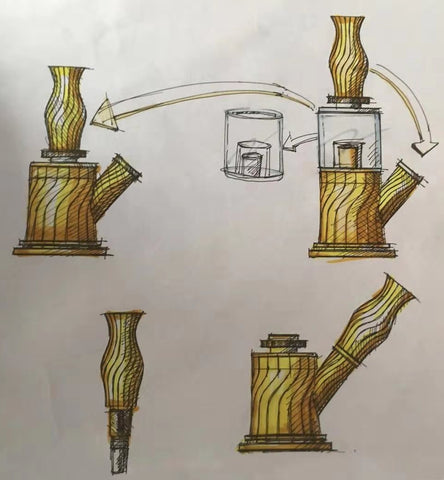 Design Manuscript of Waxmaid 4-IN-1 Double Percolator Water Pipe