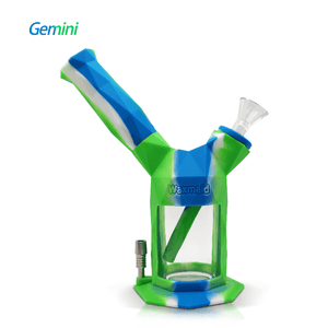 Gemini 2-IN-1 silicone bubbler nectar collectorkit-blue white green