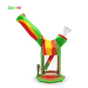 Gemini 2-IN-1 silicone glass bubbler nectar collector-rasta