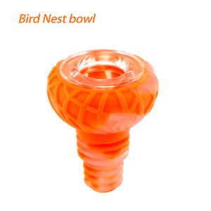 Waxmaid 14-18mm Bird Nest Silicone Glass Bowl-Translucent Orange