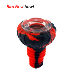 Waxmaid 14-18mm Bird Nest Silicone Glass Bowl-Black Red