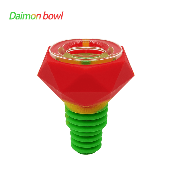 Waxmaid 14mm 18mm Diamond silicone glass bowl-Rasta