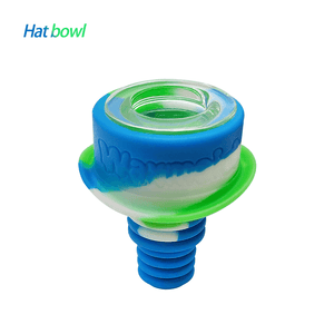 Waxmaid 14mm 18mm Hat glass silicone bowl-Blue White Green