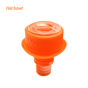 Waxmaid 14mm 18mm Hat glass silicone bowl-Translucent orange