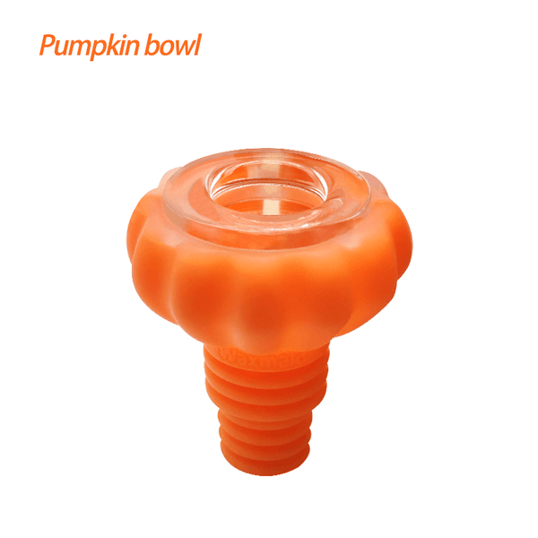 Waxmaid Pumpkin glass silicone bowl pipe-translucent orange