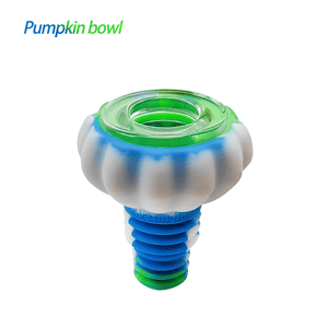 Waxmaid Pumpkin glass silicone bowl pipe-blue white green