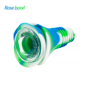 Waxmaid 14-18mm Rose Silicone Glass Bowl-Blue White Green