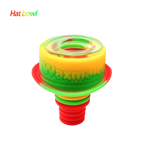Waxmaid 14mm 18mm Hat glass silicone bowl-Rasta