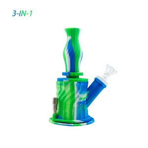 Waxmaid 3-IN-1 Silicone Water Pipe-Blue White Green