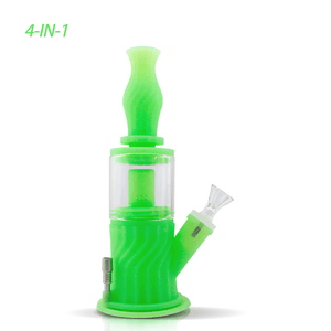 Waxmaid 4-IN-1 Silicone Glass Double Percolator Water Pipe-GID Green