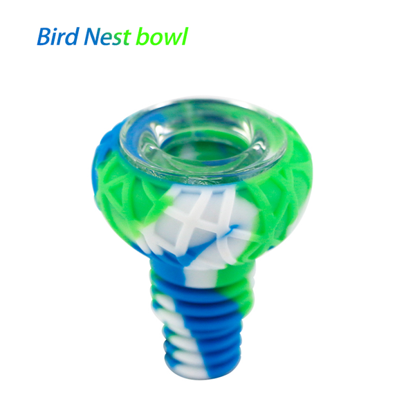 Waxmaid 14-18mm Bird Nest Silicone Glass Bowl-Blue White Green
