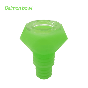 Waxmaid 14mm 18mm Diamond glow in the dark green silicone glass bowl
