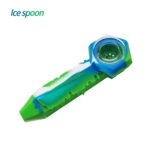 Waxmaid freezable silicone ice spoon pipe-blue white green