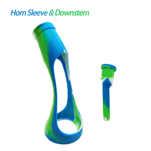 Waxmaid Horn water pipe's sleeve & downstem-blue white green