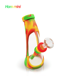 Waxmaid Mini Horn Silicone Glass Water Pipe-Rasta