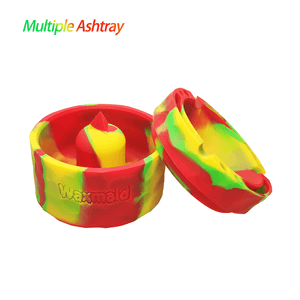"Waxmaid 4.29"" Pyramid Silicone Round Ashtray Rasta"