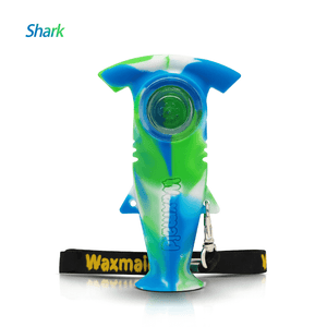 Waxmaid Shark silicone hand pipe-blue white green