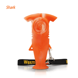 Waxmaid Shark silicone hand pipe-translucent orange