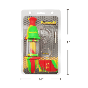Waxmaid Silicone Glass Nectar Collector Kit Size and Dimension