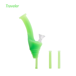 Waxmaid Water Bottle Pipe Traveler-Glow in Dark Green