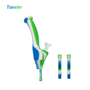 Waxmaid Water Bottle Pipe Traveler-Blue White Green