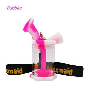 Waxmaid silicone glass blunt bubbler-pink cream