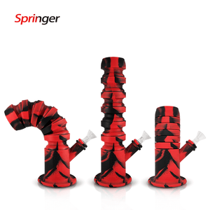 Waxmaid Springer collapsible silicone water pipe-black red