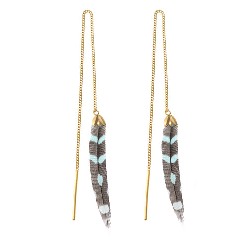 Turquoise & Black Dots Feather