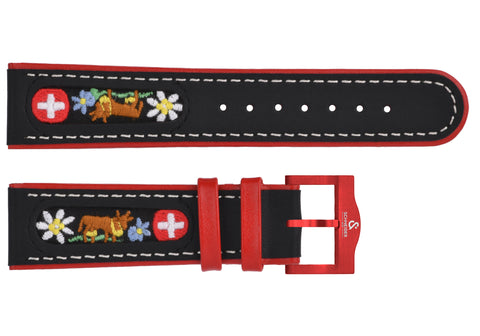 Black leather with folk motifs/red Buckle