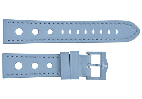 Blue perforated leather strap