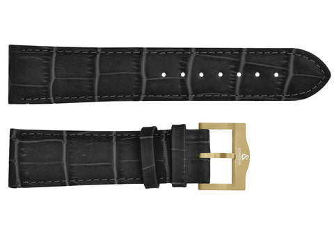 Black croco imitation leather strap/yelow Buckle