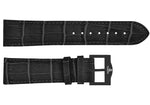 Black croco imitation leather strap/black Buckle