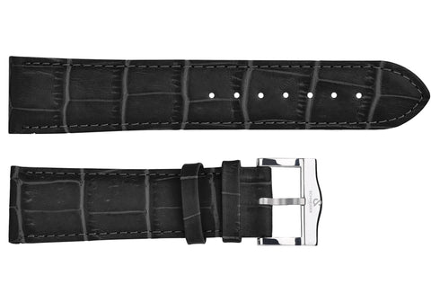 Black croco imitation leather strap/polished Buckle