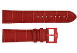 Red croco imitation leather strap/red Buckle