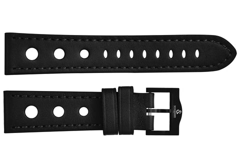 Black perforated leather strap/black Buckle
