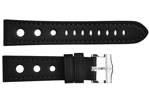 Black perforated leather strap/ polished buckle